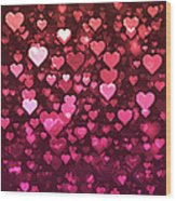 Vibrant Pink And Red Bokeh Hearts Wood Print