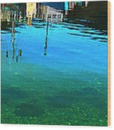 Vibrant Reflections -water - Blue Wood Print