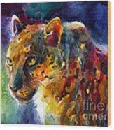 Vibrant Watercolor Leopard Wildlife Painting Wood Print