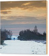 Vibrant Winter Sunrise Landscape Over Snow Covered Countryside Wood Print