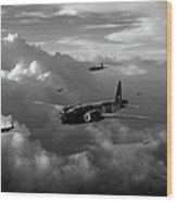 Vickers Wellingtons No 75 Squadron Black And White Version Wood Print