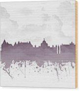 Victoria British Columbia Skyline - Purple 03 Wood Print