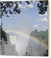 Victoria Falls Rainbow Wood Print