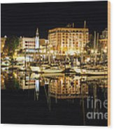 Victoria Inner Harbour At Night Wood Print