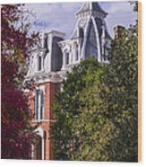Victorian Home In Autumn Photograph As Gift For The Holidays Print Wood Print