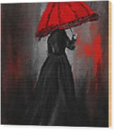 Victorian Lady With Parasol Wood Print