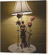 Victorian Lamp And Roses Wood Print