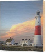 Victorian Lighthouse At Sunset Wood Print