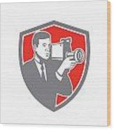 Video Cameraman Shooting Vintage Shield Retro Wood Print