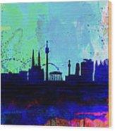 Vienna Watercolor Skyline Wood Print