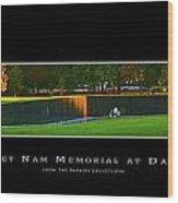 Viet Nam Memorial Wall At Dawn Wood Print