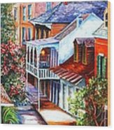 View From A Bourbon Street Balcony Wood Print