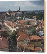 View From Above Of Old Town Tallinn  Estonia Wood Print
