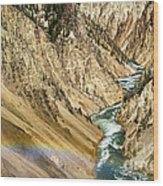 View From Lower Falls Of The Yellowstone River  Wood Print