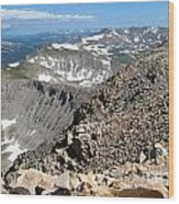 View From Mt Sherman Summit Wood Print by Claudette Bujold-Poirier