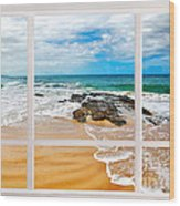 View From My Beach House Window Wood Print