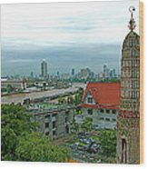 View From Temple Of The Dawn-wat Arun In Bangkok-thailand Wood Print