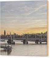 View From Waterloo Bridge Along The River Thames In London Wood Print