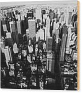View North And Down Towards Central Park From Empire State Building Wood Print