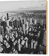 View North East Of Manhattan Queens East River From Empire State Building Wood Print by Joe Fox