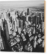 View North East Of Manhattan Queens East River From Observation Deck Empire State Building Wood Print by Joe Fox