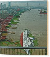View Of A Ship On Its Side From A Bridge Near Bangkok-thailand Wood Print