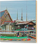 View Of A Temple From Waterway Of Bangkok-thailand Wood Print