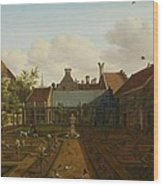 View Of A Town House Garden In The Hague Wood Print
