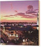 View Of Aloha Tower Wood Print