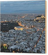 View Of Athens During Dawn Wood Print