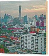 View Of Bangkok Near Dusk From Grand China Princess Hotel In Bangkok-thailand Wood Print