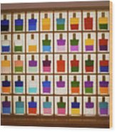 View Of Bottles Used In Aura Soma Colour Therapy Wood Print