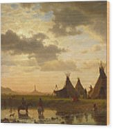 View Of Chimney Rock Ohalila .sioux Village In The Foreground Wood Print