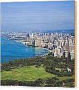View Of Downtown Honolulu Wood Print