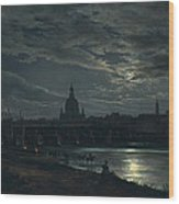 View Of Dresden By Moonlight Wood Print