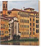 View Of Florence Along The Arno River Wood Print