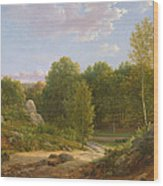 View Of Fontainebleau Forest, 1829 Oil On Canvas Wood Print