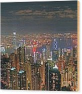 View Of Hong Kong From The Peak Wood Print by Lars Ruecker