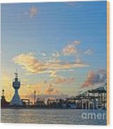 View Of Kaohsiung Harbor Entrance After Sunset Wood Print