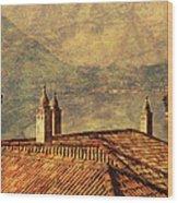 View Of Lake Como Over The Rooftop Of Villa Monastero Wood Print