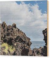View Of Lava Rock On The Coast, Pico Wood Print
