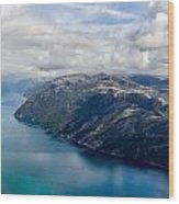 View Of Lysefjord From Preikestolen Wood Print