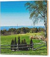 View Of Mackinac Bridge From Mackinac Island Wood Print