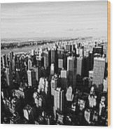 View Of Manhattan North West Towards Hudson River From Empire State Building New York Wood Print