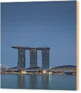 View Of Marina Bay Sands Hotel Wood Print