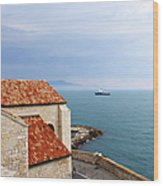View Of Mediterranean In Antibes France Wood Print