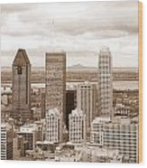 View Of Montreal In Sepia Wood Print