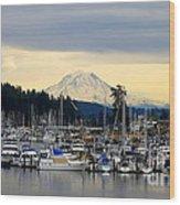 View Of Mt. Rainier From Gig Harbor Wa Wood Print