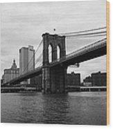 View Of New York From Beneath The Brooklyn Bridge New York Wood Print