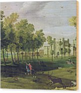 View Of Nonsuch Palace In The Time Wood Print